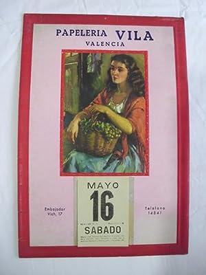 Calendario Publicidad - Advertising Calendar : PAPELERIA VILA. VALENCIA: Sin autor