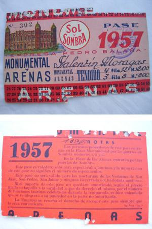 Antigua Invitación pase - Old Invitation : PLAZA TOROS ARENAS MONUMENTAL. Temporada 1957 - ...