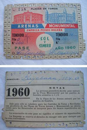 Antigua Invitación pase - Old Invitation : PLAZA TOROS ARENAS MONUMENTAL. Temporada 1960 - ...