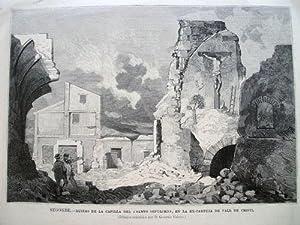 Antiguo Grabado - Old Gravure : SEGORBE - Ruinas de la Capilla del Santo Sepulcro, en la ExCartuja:...