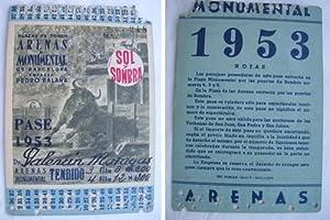 Antigua Invitación pase - Old Invitation : PLAZA TOROS ARENAS MONUMENTAL. Temporada 1953 - ...