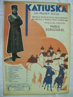 Partitura - Musical Score: Nº6 Romanza de Pedro (La Mujer Rusa) - KATIUSKA: SOROZABAL P.(...