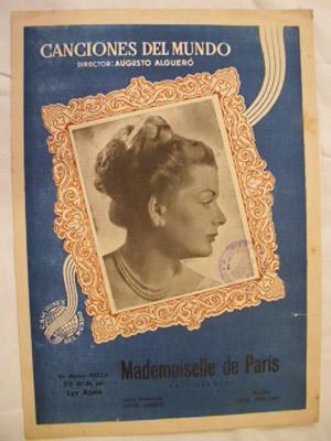Partitura - Musical Score: MADEMOISELLE DE PARÍS - Vals francés: DURAND Paul (música)...