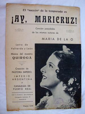 Partitura - Score : ¡AY, MARICRUZ! (Canción pasodoble): QUIROGA (música), VALVERDE Y ...