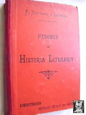 RESUMEN DE HISTORIA LITERARIA: NAVARRO Y LEDESMA,