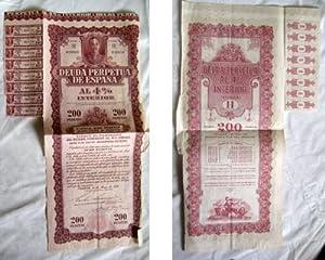 DEUDA PERPETUA DE ESPAÑA al 4% Interior. Serie H. 200 pesetas. 1930: Sin autor