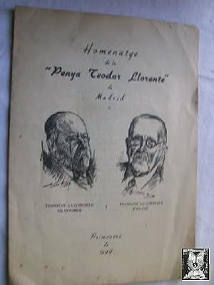 HOMENATGE DE LA PENYA TEODOR LLORENTE DE MADRID: Sin autor