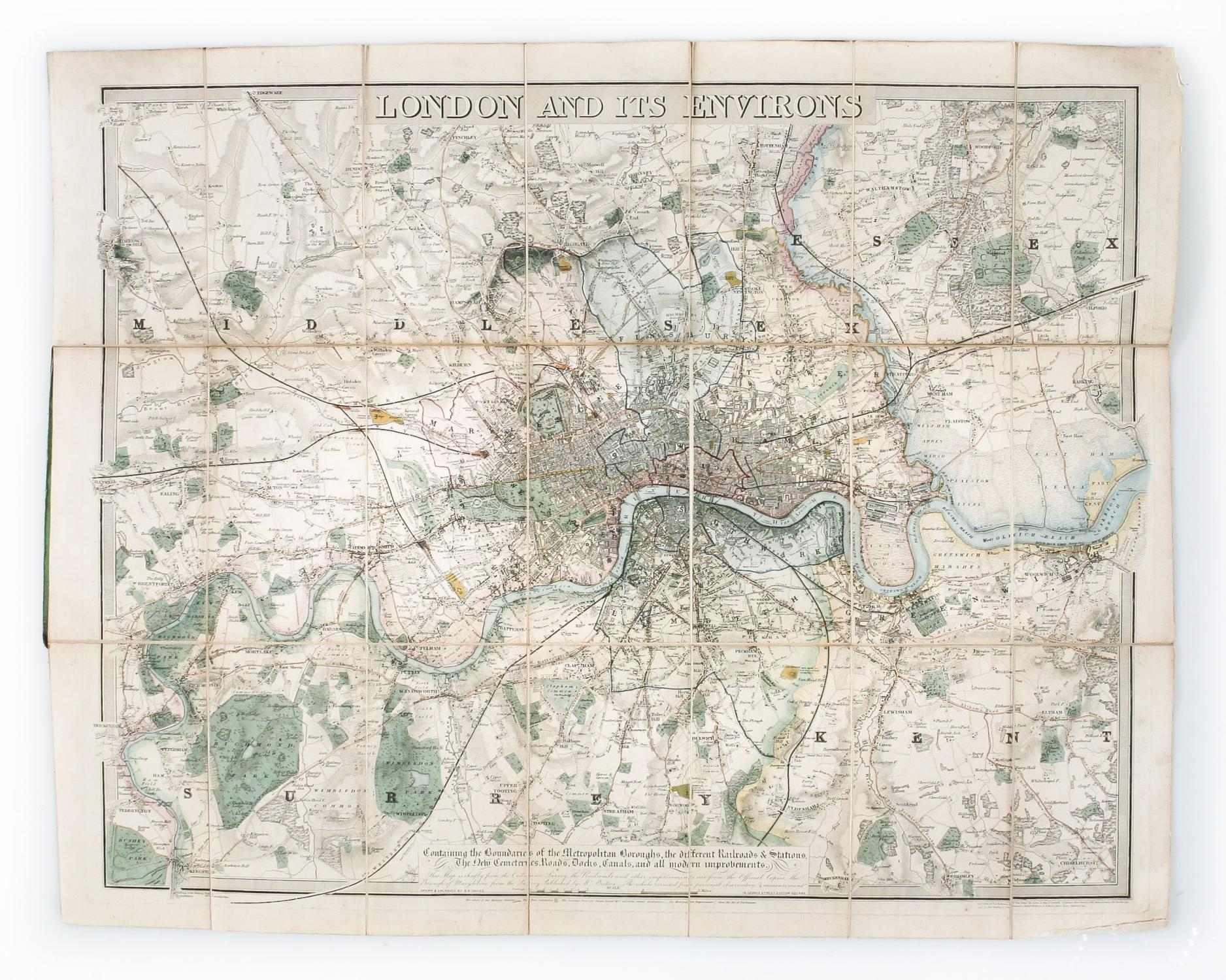 London and its Environs containing the Boundaries of the Metropolitan Boroughs, the different Railroads & Stations, the new cemeteries, roads, docks,