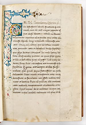 Tusculanae Disputationes. Illuminated manuscript on vellum. [Italy,: CICERO Marcus Tullius