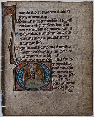 Illuminated leaf from a Psalter.: FLEMISH PSALTER