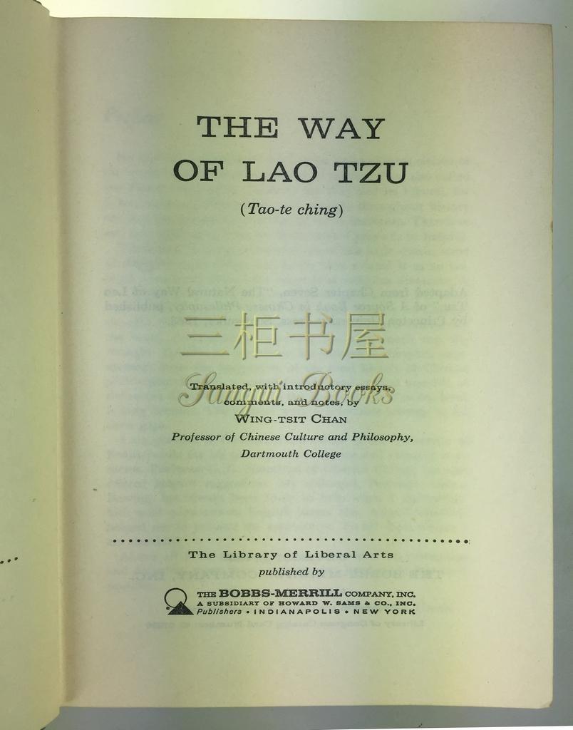 the way of lao tzu tao te ching translated introductory