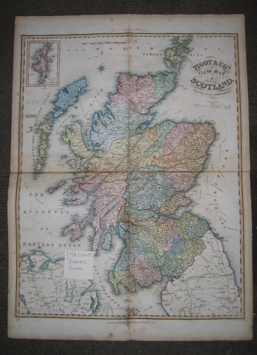 Pigot & Co's New Map of Scotland 1840 with the latest improvements (Including Mail Roads, Turnpike & Carriage Roads, Rivers, Hills, Navigable Canals