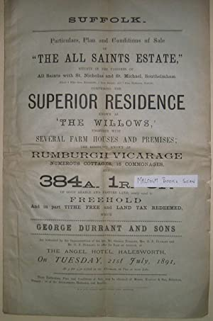 1891 Auction Sale with a hand coloured map of sale of The All Saints Estate in the Parish of All ...