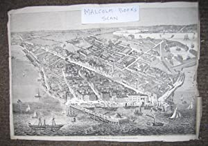 Panoramic Print of the town and port of Southampton with details rear including Slavery ( Titled ...