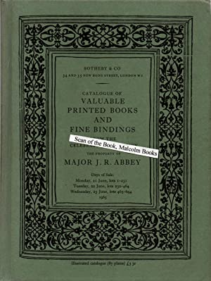 Catalogue of valuable printed books and fine bindings from the celebrated collection of Major J. ...