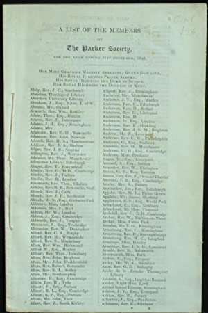 A List Of Members Of The Parker Society For The Year 1841