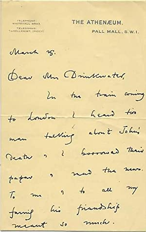 Autograph Letter Signed to Mrs Daisy Drinkwater,: ROTHENSTEIN, Sir John