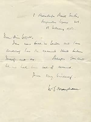 Autograph Letter Signed to Miss Leggett, 1: MAUGHAM, William Somerset