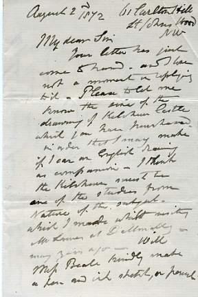 Autograph Letter Signed to W[illiam] J[ohn] Beale,: FRIPP, George Arthur