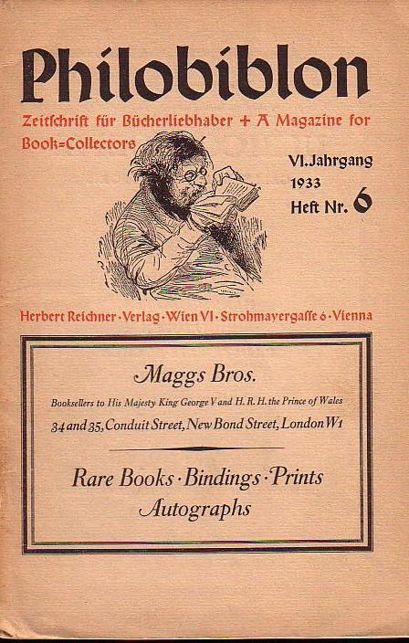 Philobiblon. Zeitschrift für Bücherliebhaber/A Magazine for Book-Collectors.: Philobiblon. - Herbert