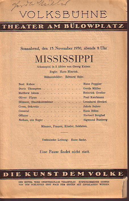 Programmzettel zu 'Mississippi'. Schauspiel in 3 Akten.: Volksbühne, Theater am