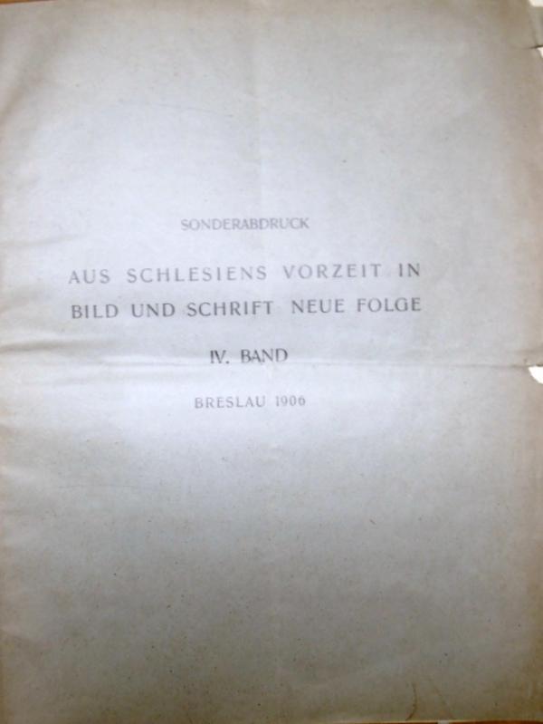 Sonderabdruck. Aus Schlesiens Vorzeit in Bild und: Lustig, Georg: