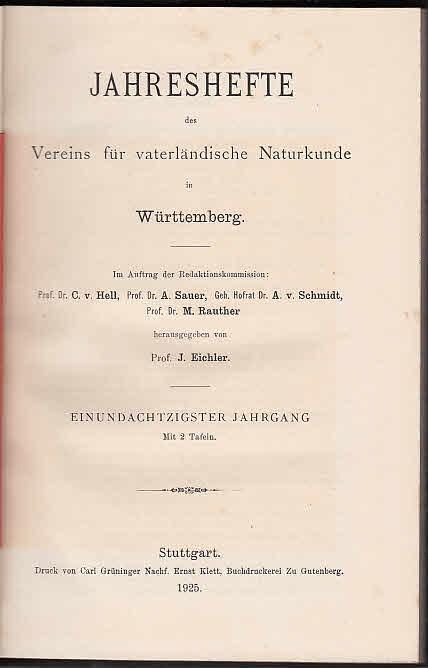 Jahreshefte des Vereins für vaterländische Naturkunde in: Jahreshefte Verein für