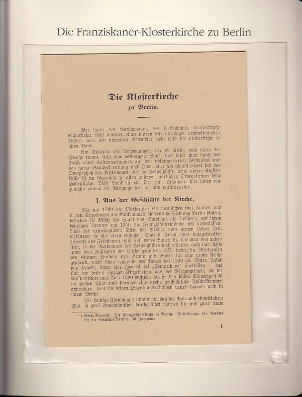 Die Klosterkirche (der Franziskaner)zu Berlin, 1931. (: BerlinArchiv herausgegeben von