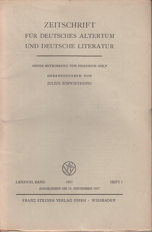 Zeitschrift für Deutsches Altertum und Deutsche Literatur.: Zeitschrift für Deutsches