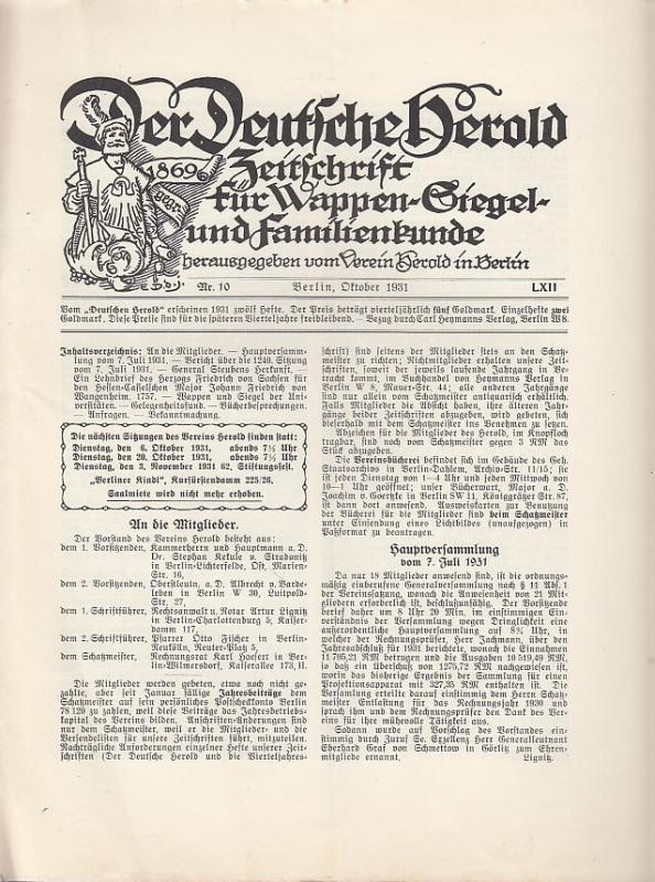 Der Deutsche Herold. Nr. 10, Oktober 1931.: Deutsche Herold, Der.