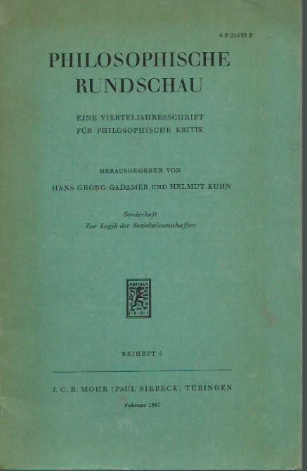 Philosophische Rundschau. Sonderheft: Zur Logik der Sozialwissenschaften.: Rundschau, Philosophische. -