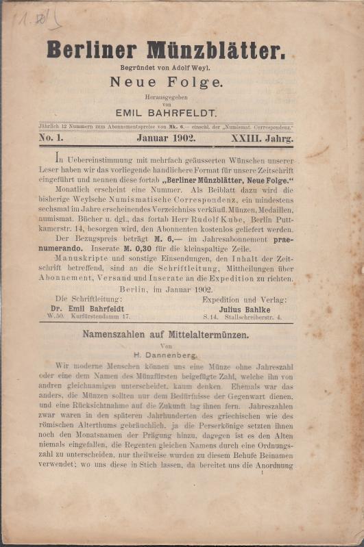 Berliner Münzblätter. XXIII. Jahrg. - No.1 -: Münzblätter, Berliner. Emil