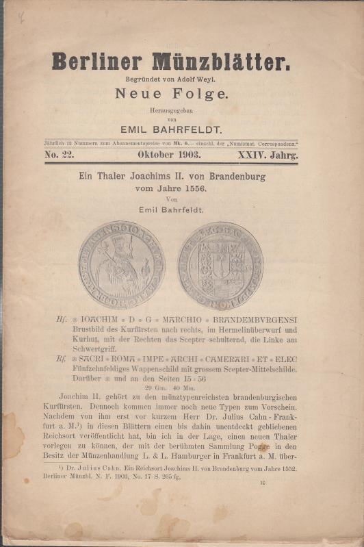 Berliner Münzblätter. Neue Folge. XXIV. Jahrg. -: Münzblätter, Berliner. Emil