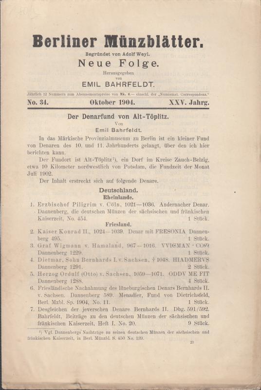 Berliner Münzblätter. Neue Folge. XXV. Jahrg. -: Münzblätter, Berliner. Emil
