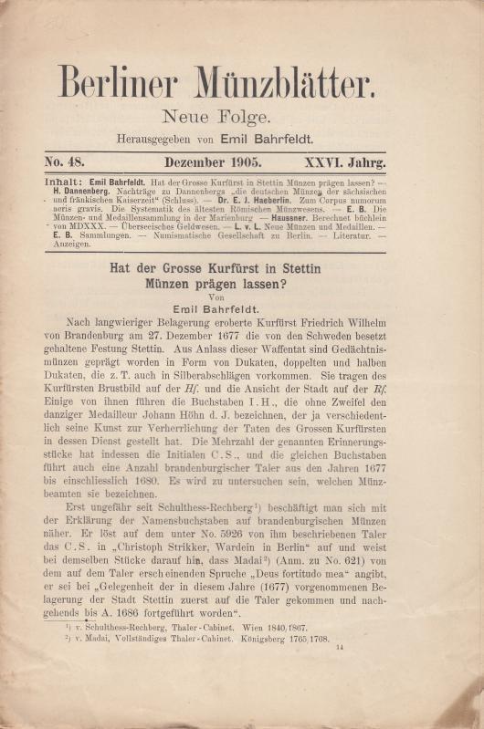 Berliner Münzblätter. Neue Folge. XXVI. Jahrg. -: Münzblätter, Berliner. Emil