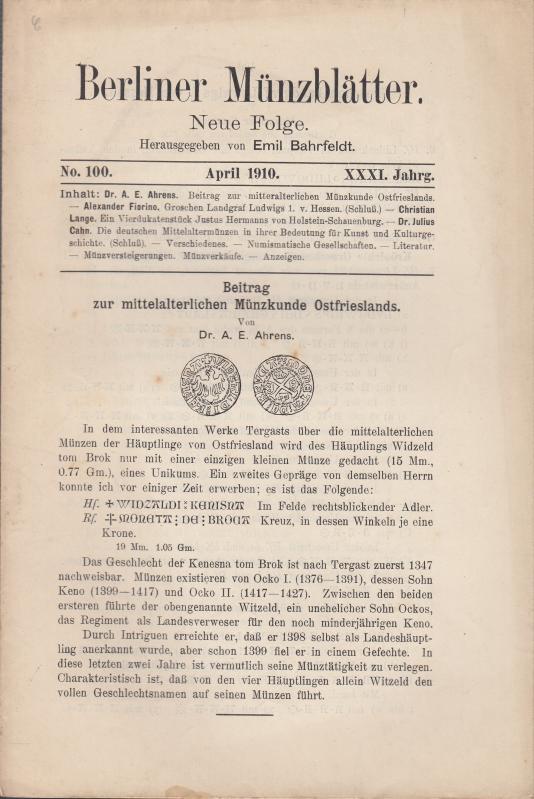 Berliner Münzblätter. Neue Folge. XXXI. Jahrg. -: Münzblätter, Berliner. Emil
