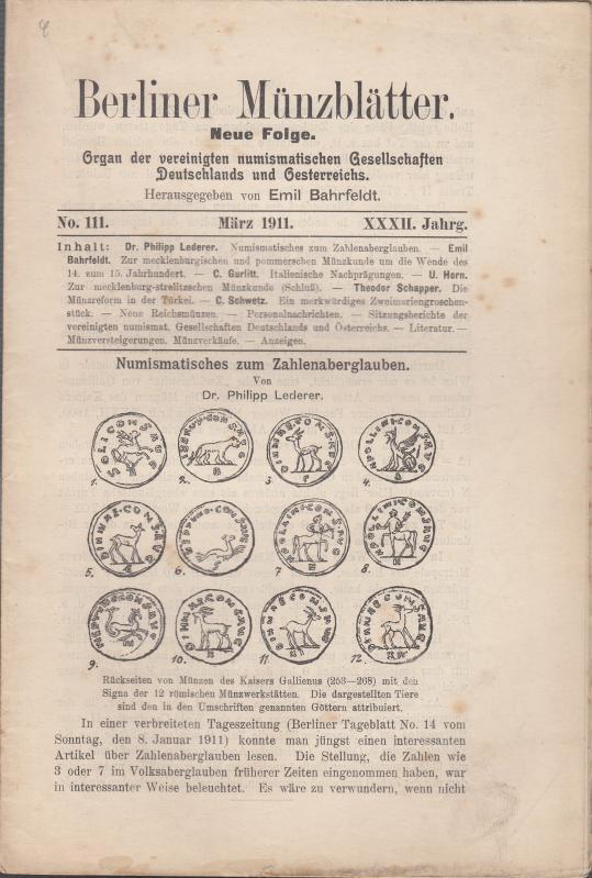 Berliner Münzblätter. XXXII. Jahrg. - No. 111: Münzblätter, Berliner. Emil