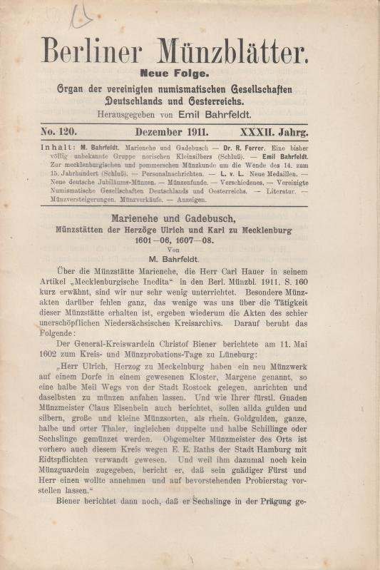 Berliner Münzblätter. XXXII. Jahrg. - No. 120: Münzblätter, Berliner. Emil