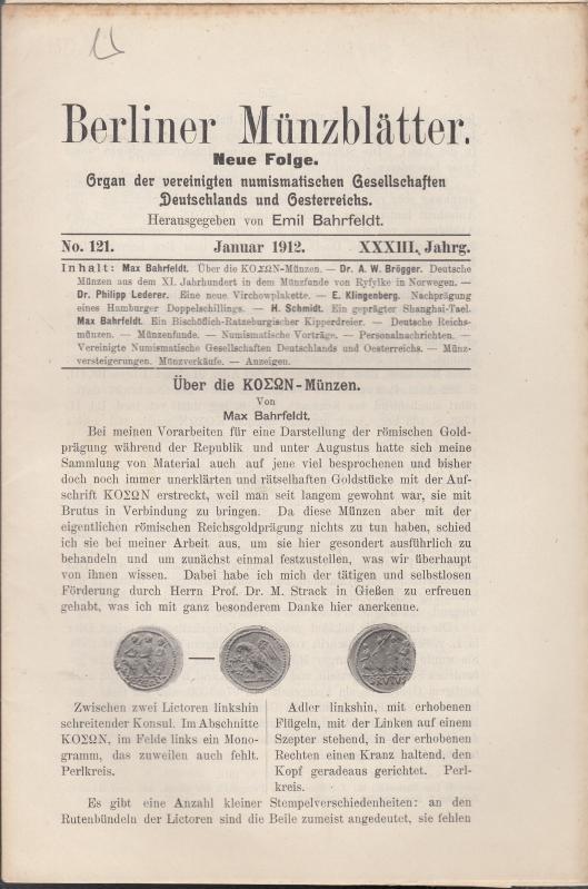 Berliner Münzblätter. XXXIII. Jahrg. - No. 121: Münzblätter, Berliner. Emil