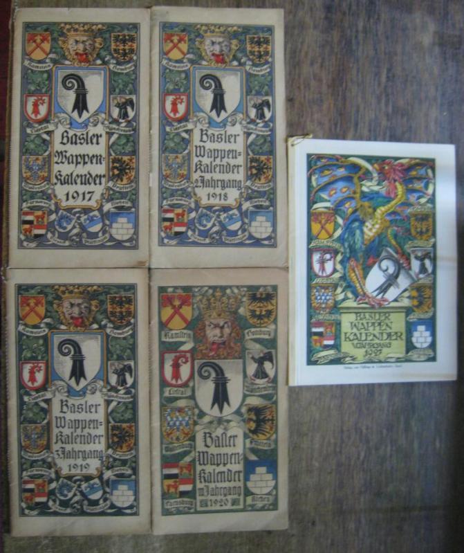 Basler Wappen Kalender. Komplett mit 5 Jahrgängen: Basel. - Wappenkalender.