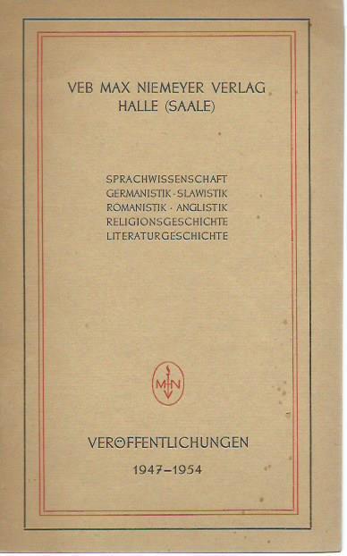 Verlagsverzeichnis des VEB Max Niemeyer Verlages, Halle: VEB Max Niemeyer