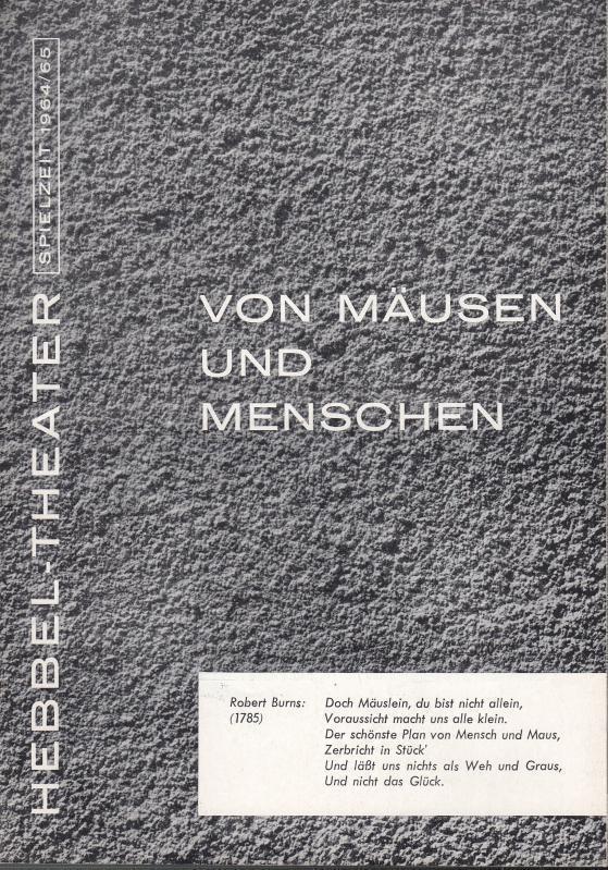 Von Mäusen und Menschen. Spielzeit 1964 /: Berlin Hebbel -