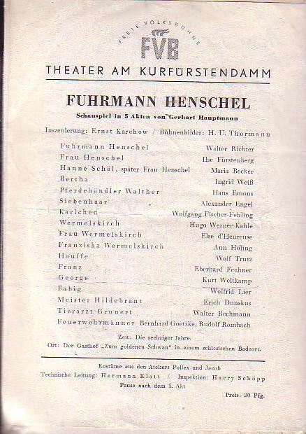Programmzettel Theater am Kurfürstensdamm. Spielzeit 1952 /: Berlin- Kufürstendammtheater -