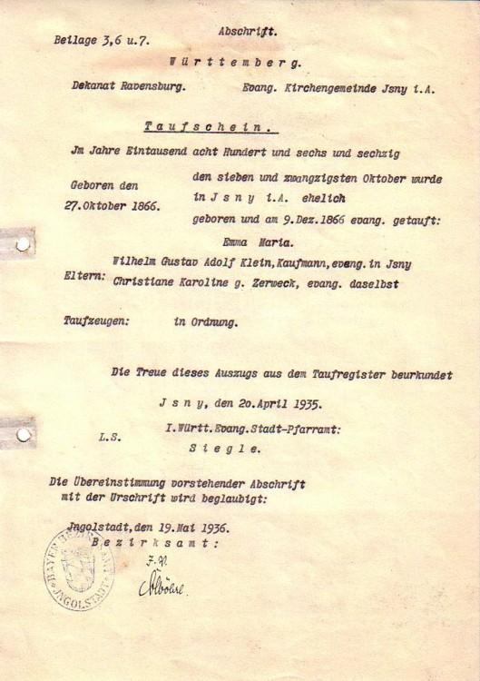 Abschrift: Abschrift des Taufscheins für Emma Maria: Klein -
