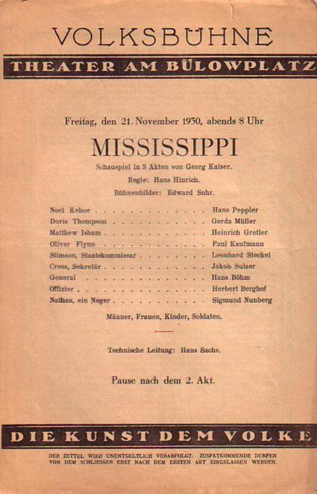 Programm - Heft zu 'Mississippi'. Schauspiel in: Kaiser, Georg: