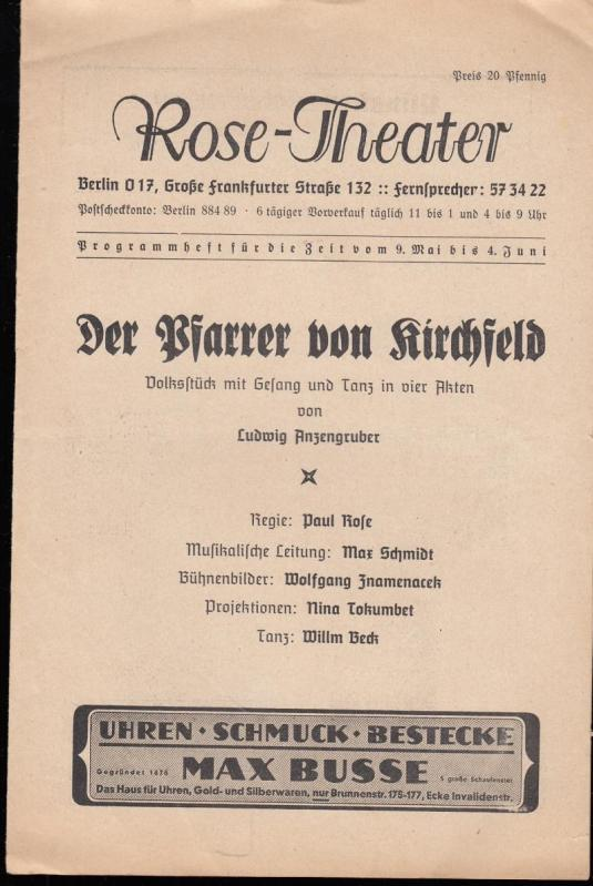 Programmheft zu: Der Pfarrer von Kirchfeld. Volksstück: Rose - Theater