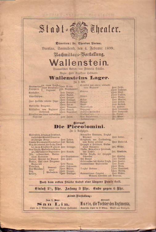 Programmzettel zu: Wallenstein (Wallensteins Lager, Die Piccolomini).: Schiller, Friedrich von: