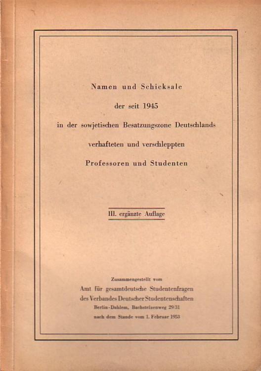 Namen und Schicksale der seit 1945 in: Reinhold, Johannes und