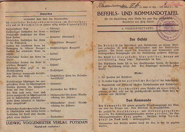 4. Volkssporttafel. Befehls- und Kommandotafel für die: Volks-Sporttafel. - Schiele,