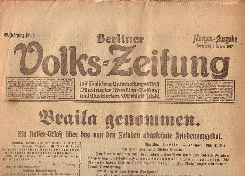 Berliner Volkszeitung. Morgen-Ausgabe. Sonnabend, 6. Januar 1917,: Volks-Zeitung, Berliner. -